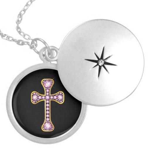 """Cruz cristiana con las piedras del """"cuarzo color collar plateado"""