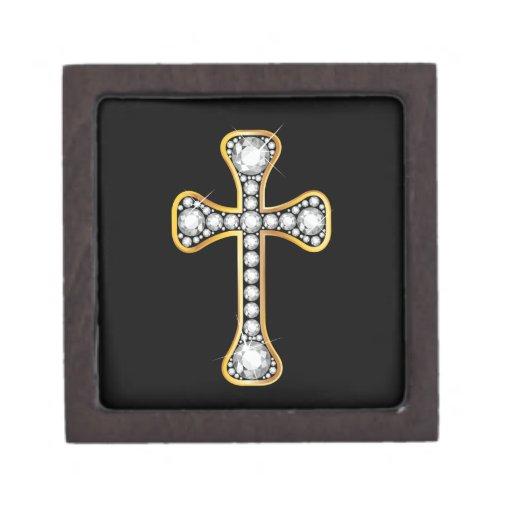 """Cruz cristiana con las piedras del """"diamante"""" caja de recuerdo de calidad"""