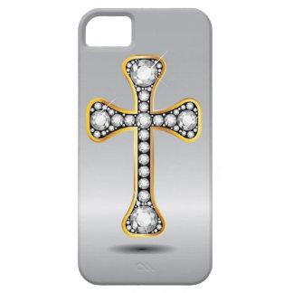 """Cruz cristiana con las piedras del """"diamante"""" iPhone 5 cárcasa"""