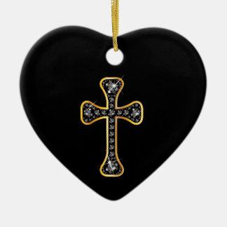 """Cruz cristiana con las piedras del """"ónix"""" adorno de cerámica en forma de corazón"""