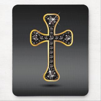 """Cruz cristiana con las piedras del """"ónix"""" tapete de ratones"""