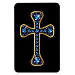 "Cruz cristiana con las piedras del ""zafiro"" imanes de vinilo"