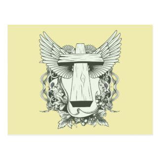 Cruz cristiana - cráneos - alas postales