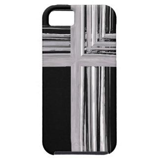Cruz cristiana de plata abstracta iPhone 5 Case-Mate funda