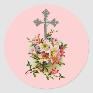 Cruz cristiana de plata pegatina redonda