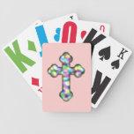 Cruz cristiana del arco iris baraja cartas de poker