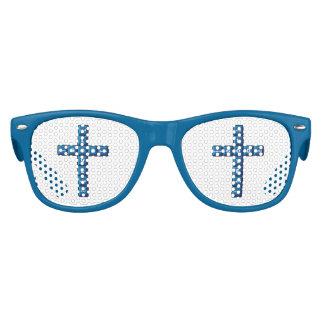 Cruz cristiana del azul del teclado de ordenador lentes de fiesta