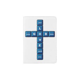Cruz cristiana del azul del teclado de ordenador porta pasaportes