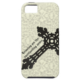 Cruz cristiana del hierro del vintage en el damasc iPhone 5 Case-Mate cobertura