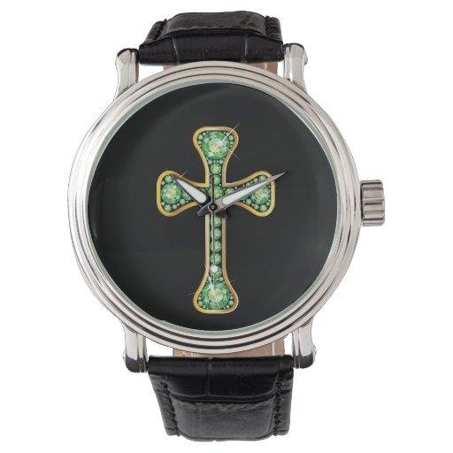 """Cruz cristiana del """"Peridot"""" en reloj de oro"""