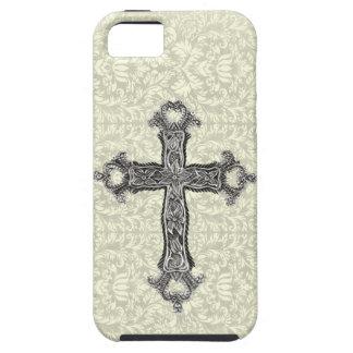 Cruz cristiana del vintage de lujo en el damasco iPhone 5 carcasa