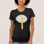 Cruz cristiana en amarillo camisetas