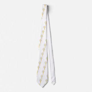 Cruz cristiana en amarillo corbata personalizada