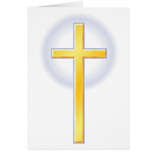 Cruz cristiana en amarillo felicitacion