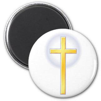 Cruz cristiana en amarillo imán redondo 5 cm