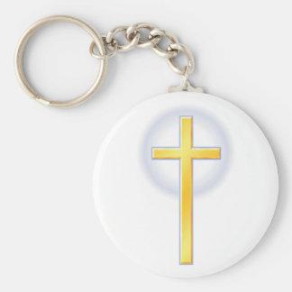 Cruz cristiana en amarillo llavero redondo tipo pin