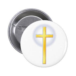 Cruz cristiana en amarillo pin redondo de 2 pulgadas