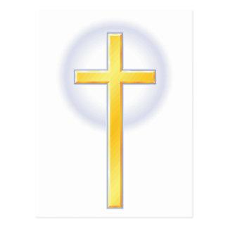 Cruz cristiana en amarillo postales