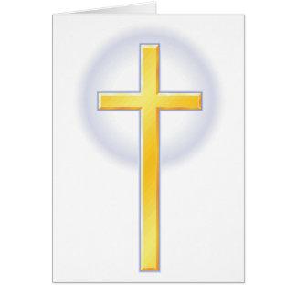 Cruz cristiana en amarillo tarjeta de felicitación