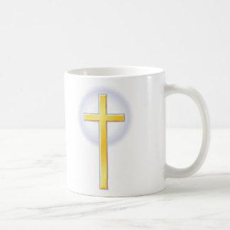 Cruz cristiana en amarillo tazas de café
