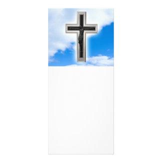 """Cruz cristiana en el fondo del cielo azul folleto publicitario 4"""" x 9"""""""