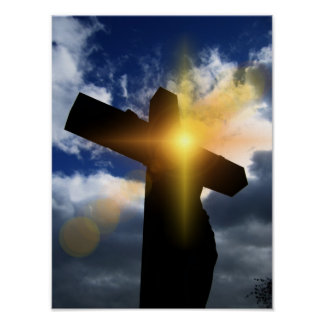 Cruz cristiana en el servicio de la salida del sol poster