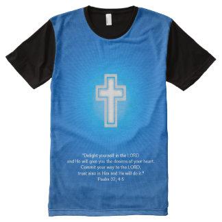 Cruz cristiana en fondo azul