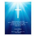 Cruz cristiana en fondo azul tarjeta publicitaria