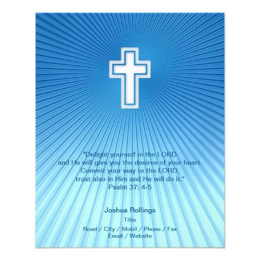 Cruz cristiana en fondo azul tarjetón