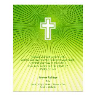 Cruz cristiana en fondo verde flyer a todo color