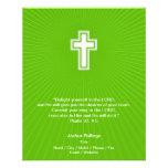 Cruz cristiana en fondo verde tarjetas informativas
