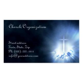Cruz cristiana en la tarjeta de visita azul de las