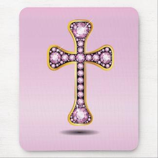 Cruz cristiana en oro con las piedras del cuarzo c alfombrillas de raton