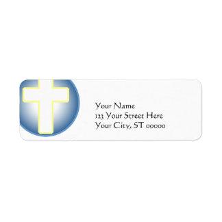 Cruz cristiana etiqueta de remite
