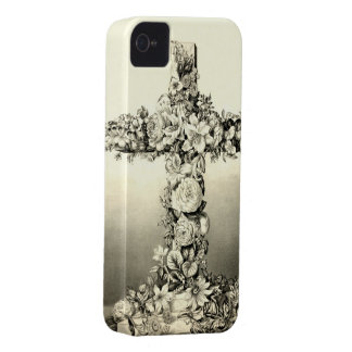 Cruz cristiana floral 1869 de Pascua del vintage iPhone 4 Case-Mate Protector