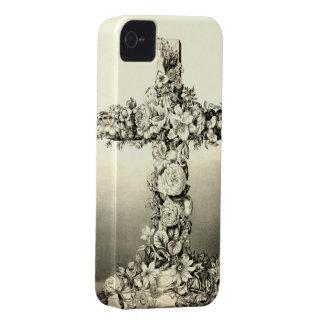 Cruz cristiana floral 1869 de Pascua del vintage iPhone 4 Cárcasa