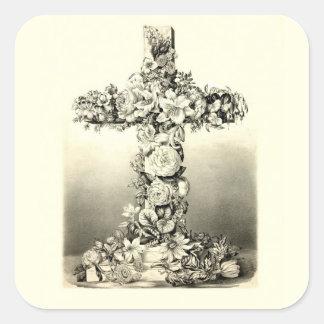 Cruz cristiana floral 1869 de Pascua del vintage Pegatina Cuadrada