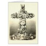 Cruz cristiana floral 1869 de Pascua del vintage Tarjetas