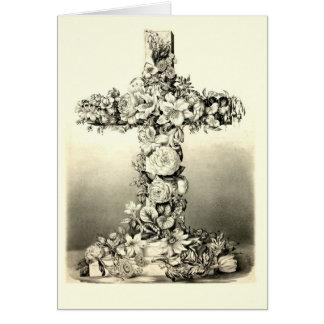 Cruz cristiana floral 1869 de Pascua del vintage Tarjeta De Felicitación