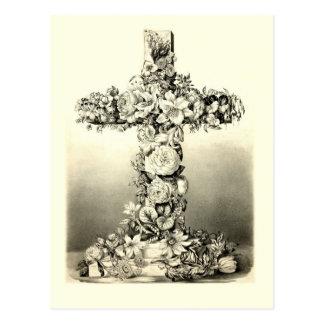 Cruz cristiana floral 1869 de Pascua del vintage Postales