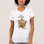 Cruz cristiana floral camiseta