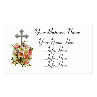 Cruz cristiana floral tarjetas de visita