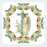 Cruz cristiana florecida azul calcomania cuadradas