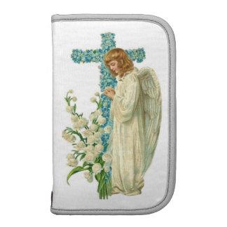 Cruz cristiana florecida azul organizador