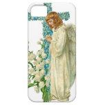 Cruz cristiana florecida azul iPhone 5 carcasas