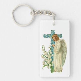 Cruz cristiana florecida azul llavero rectangular acrílico a doble cara