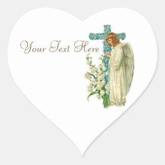 Cruz cristiana florecida azul colcomanias de corazon personalizadas