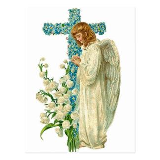 Cruz cristiana florecida azul postal