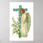 Cruz cristiana florecida azul posters