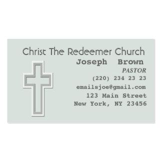 Cruz cristiana gráfica de la aguamarina plantillas de tarjeta de negocio